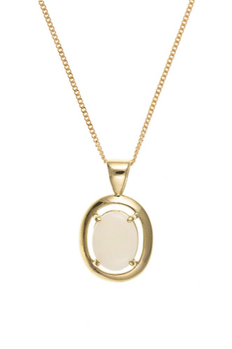 Yellow Gold Oval Opal Necklace